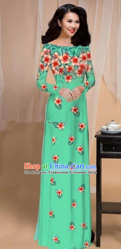 Asian Vietnam Traditional Printing Flowers Light Green Cheongsam Vietnamese Classical Ao Dai Qipao Dress for Women