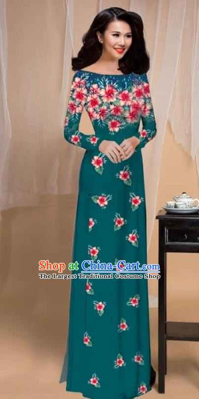 Asian Vietnam Traditional Printing Flowers Atrovirens Cheongsam Vietnamese Classical Ao Dai Qipao Dress for Women