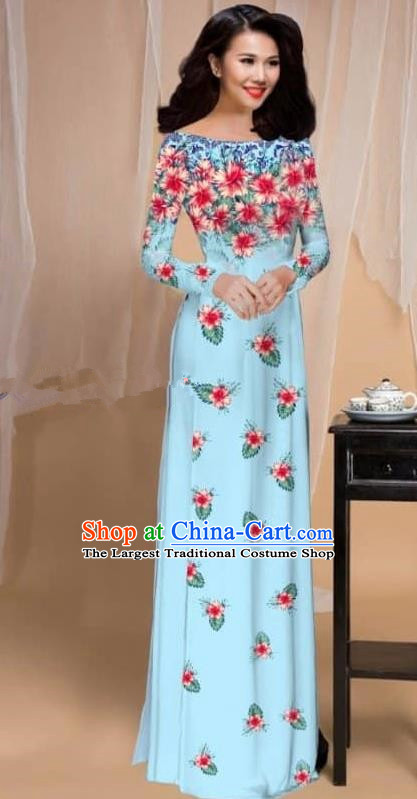 Asian Vietnam Traditional Printing Flowers Blue Cheongsam Vietnamese Classical Ao Dai Qipao Dress for Women