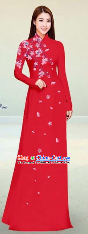Asian Vietnam Traditional Red Cheongsam Vietnamese Classical Ao Dai Qipao Dress for Women
