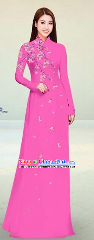 Asian Vietnam Traditional Pink Cheongsam Vietnamese Classical Ao Dai Qipao Dress for Women