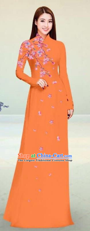 Asian Vietnam Traditional Orange Cheongsam Vietnamese Classical Ao Dai Qipao Dress for Women