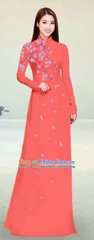 Asian Vietnam Traditional Watermelon Red Cheongsam Vietnamese Classical Ao Dai Qipao Dress for Women