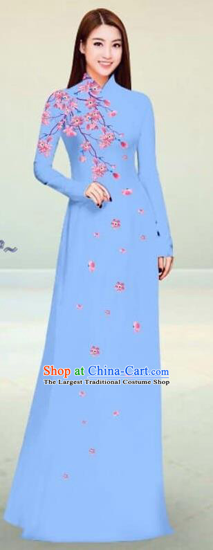 Asian Vietnam Traditional Blue Cheongsam Vietnamese Classical Ao Dai Qipao Dress for Women