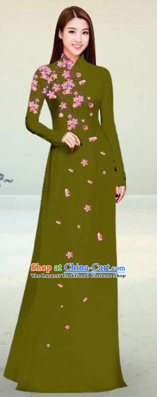 Asian Vietnam Traditional Olive Green Cheongsam Vietnamese Classical Ao Dai Qipao Dress for Women