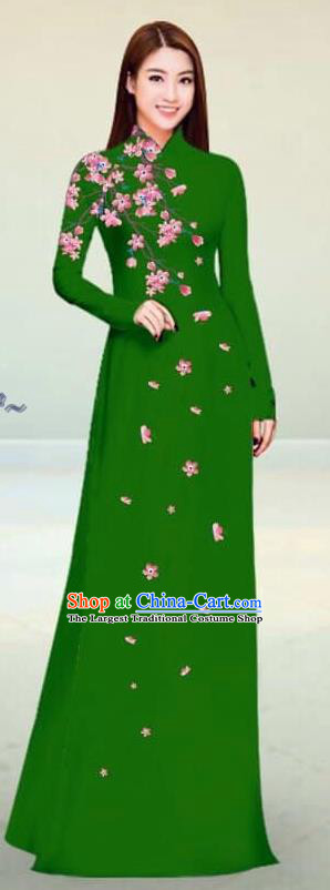 Asian Vietnam Traditional Deep Green Cheongsam Vietnamese Classical Ao Dai Qipao Dress for Women