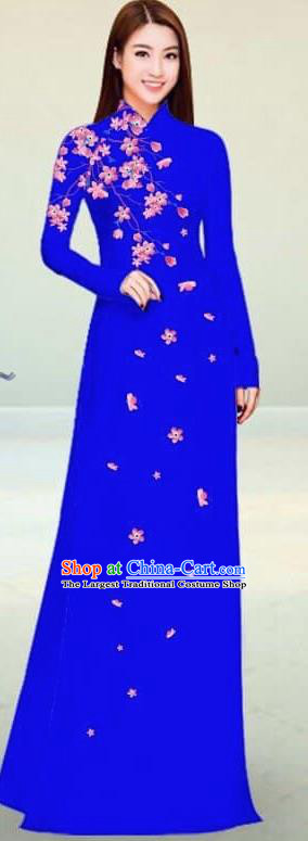 Asian Vietnam Traditional Royalblue Cheongsam Vietnamese Classical Ao Dai Qipao Dress for Women