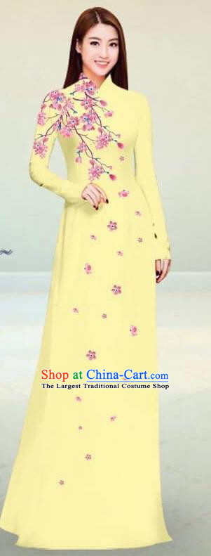 Asian Vietnam Traditional Light Yellow Cheongsam Vietnamese Classical Ao Dai Qipao Dress for Women