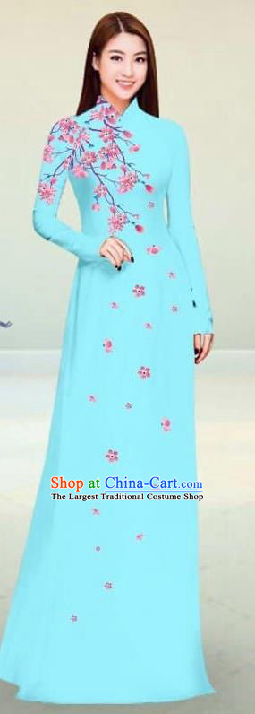Asian Vietnam Traditional Lake Blue Cheongsam Vietnamese Classical Ao Dai Qipao Dress for Women