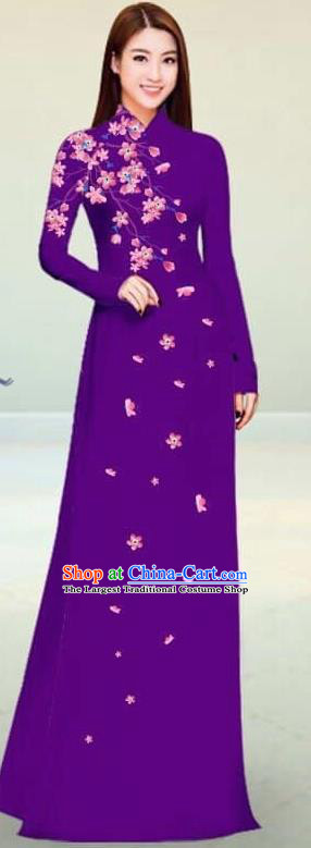 Asian Vietnam Traditional Purple Cheongsam Vietnamese Classical Ao Dai Qipao Dress for Women