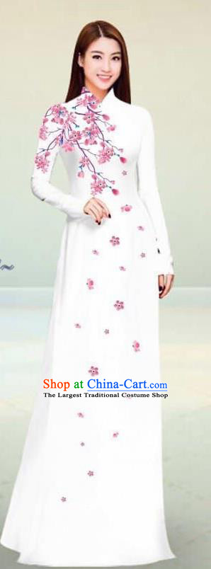 Asian Vietnam Traditional White Cheongsam Vietnamese Classical Ao Dai Qipao Dress for Women
