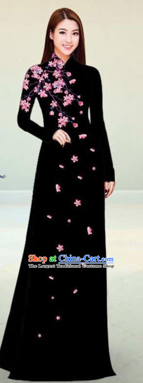 Asian Vietnam Traditional Black Cheongsam Vietnamese Classical Ao Dai Qipao Dress for Women
