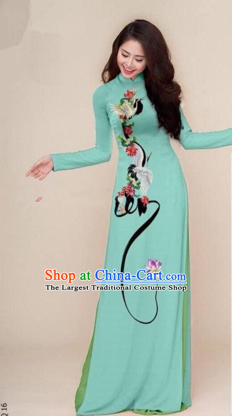 Asian Vietnam Traditional Printing Cranes Green Cheongsam Vietnamese Classical Ao Dai Qipao Dress for Women