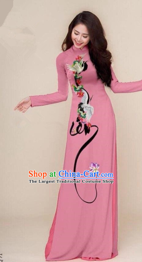 Asian Vietnam Traditional Printing Cranes Pink Cheongsam Vietnamese Classical Ao Dai Qipao Dress for Women
