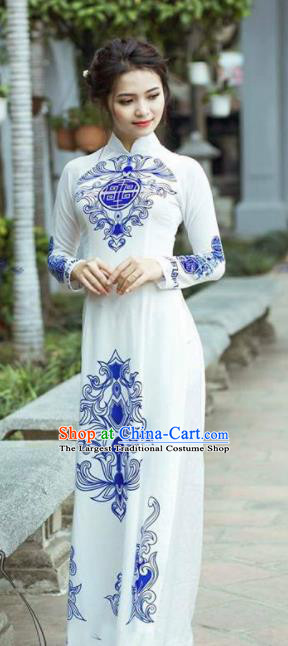 Asian Vietnam Traditional Bride Cheongsam Vietnamese Classical Ao Dai Qipao Dress for Women