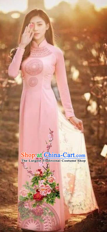 Asian Vietnam Traditional Printing Peony Pink Cheongsam Vietnamese Classical Ao Dai Qipao Dress for Women