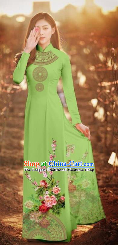 Asian Vietnam Traditional Printing Peony Green Cheongsam Vietnamese Classical Ao Dai Qipao Dress for Women