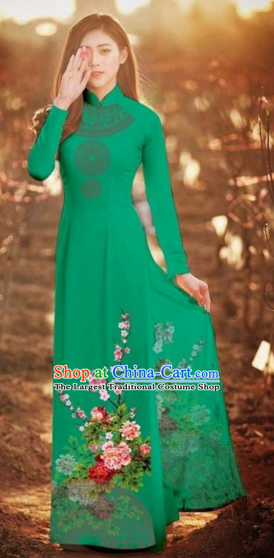 Asian Vietnam Traditional Printing Peony Deep Green Cheongsam Vietnamese Classical Ao Dai Qipao Dress for Women