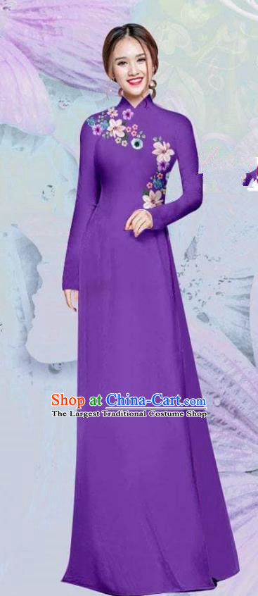 Asian Vietnam Traditional Cheongsam Vietnamese Classical Purple Ao Dai Qipao Dress for Women