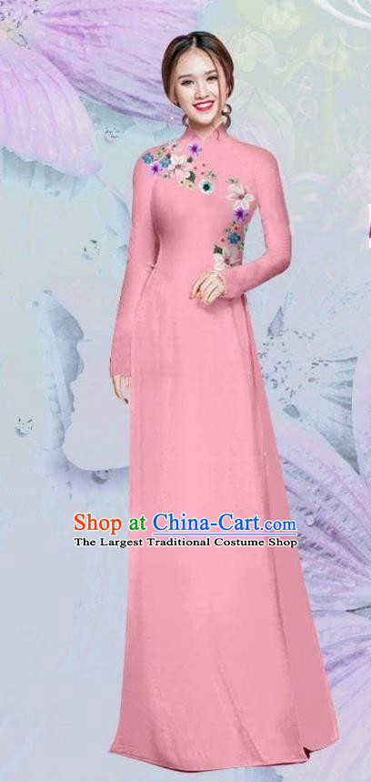 Asian Vietnam Traditional Cheongsam Vietnamese Classical Pink Ao Dai Qipao Dress for Women