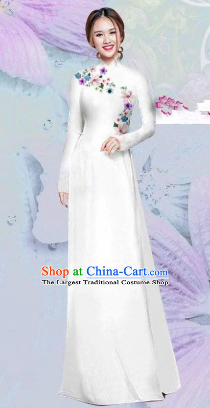 Asian Vietnam Traditional Cheongsam Vietnamese Classical White Ao Dai Qipao Dress for Women
