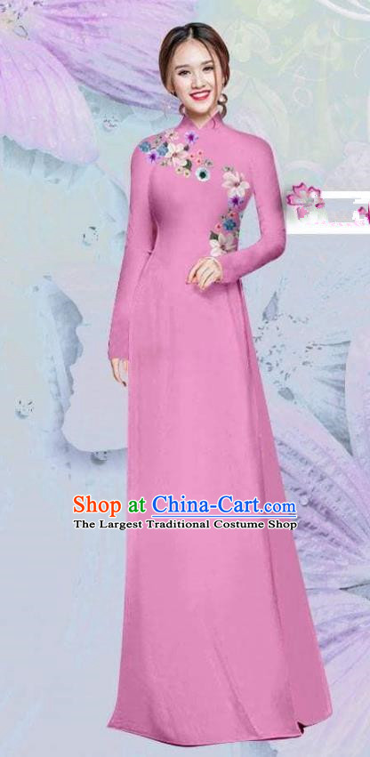Asian Vietnam Traditional Cheongsam Vietnamese Classical Peach Pink Ao Dai Qipao Dress for Women