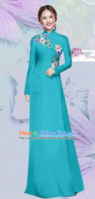 Asian Vietnam Traditional Cheongsam Vietnamese Classical Blue Ao Dai Qipao Dress for Women