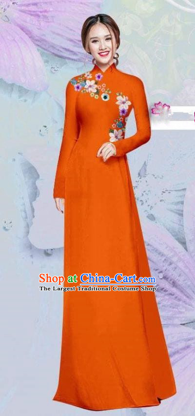 Asian Vietnam Traditional Cheongsam Vietnamese Classical Orange Ao Dai Qipao Dress for Women