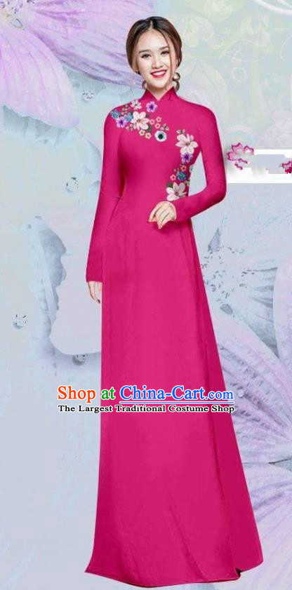Asian Vietnam Traditional Cheongsam Vietnamese Classical Rosy Ao Dai Qipao Dress for Women