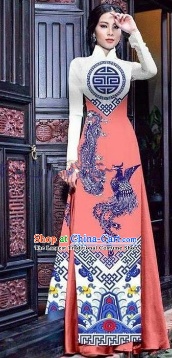 Asian Vietnam Traditional Printing Phoenix Pink Cheongsam Vietnamese Ao Dai Qipao Dress for Women