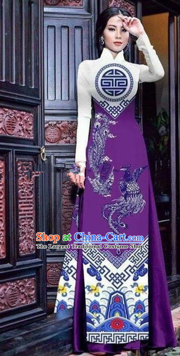Asian Vietnam Traditional Printing Phoenix Purple Cheongsam Vietnamese Ao Dai Qipao Dress for Women
