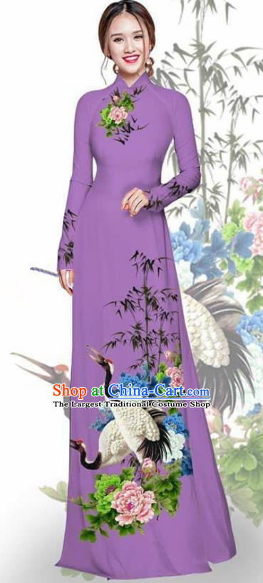 Asian Vietnam Traditional Printing Crane Peony Purple Cheongsam Vietnamese Ao Dai Qipao Dress for Women