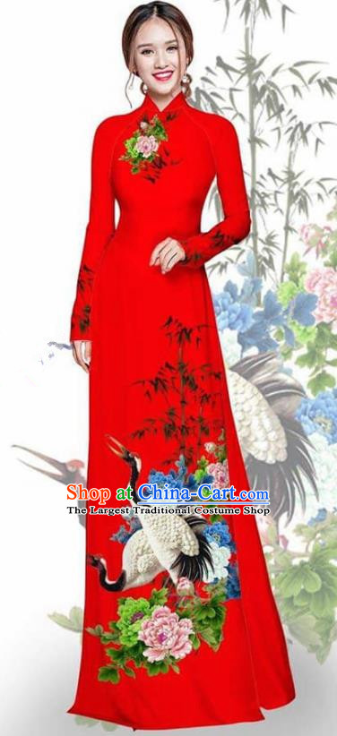 Asian Vietnam Traditional Printing Crane Peony Red Cheongsam Vietnamese Ao Dai Qipao Dress for Women