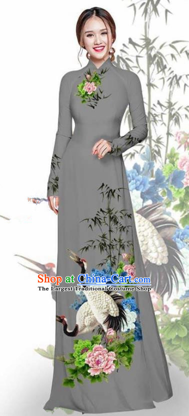 Asian Vietnam Traditional Printing Crane Peony Grey Cheongsam Vietnamese Ao Dai Qipao Dress for Women