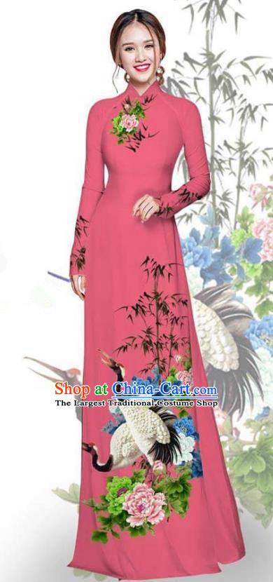 Asian Vietnam Traditional Printing Crane Peony Watermelon Red Cheongsam Vietnamese Ao Dai Qipao Dress for Women