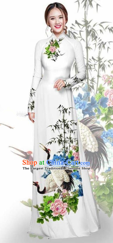 Asian Vietnam Traditional Printing Crane Peony White Cheongsam Vietnamese Ao Dai Qipao Dress for Women