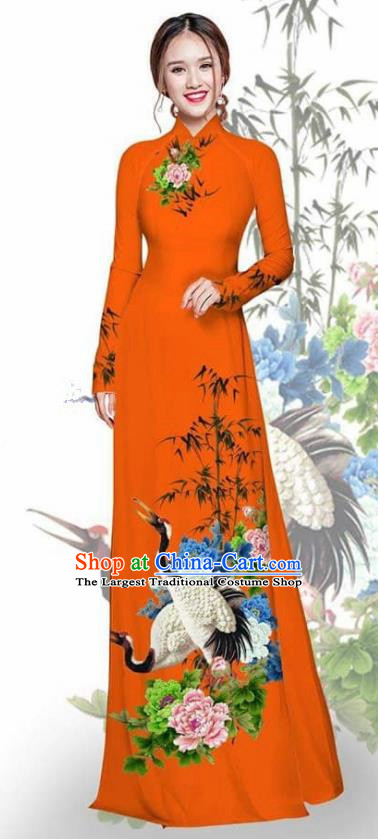 Asian Vietnam Traditional Printing Crane Peony Orange Cheongsam Vietnamese Ao Dai Qipao Dress for Women