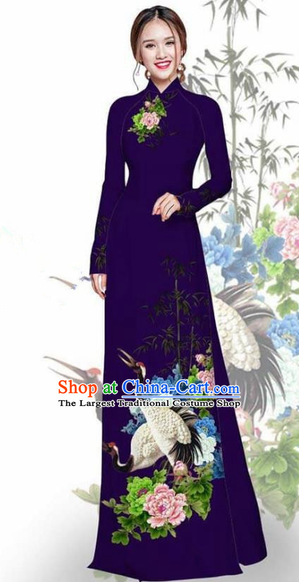 Asian Vietnam Traditional Printing Crane Peony Deep Purple Cheongsam Vietnamese Ao Dai Qipao Dress for Women