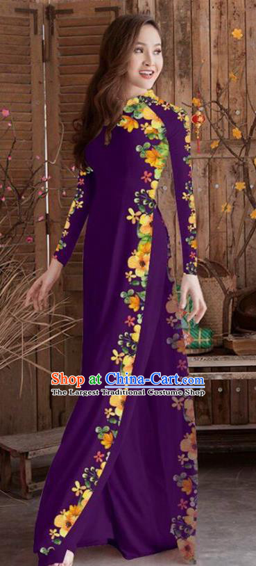Asian Vietnam Traditional Printing Cheongsam Vietnamese Purple Ao Dai Qipao Dress for Women