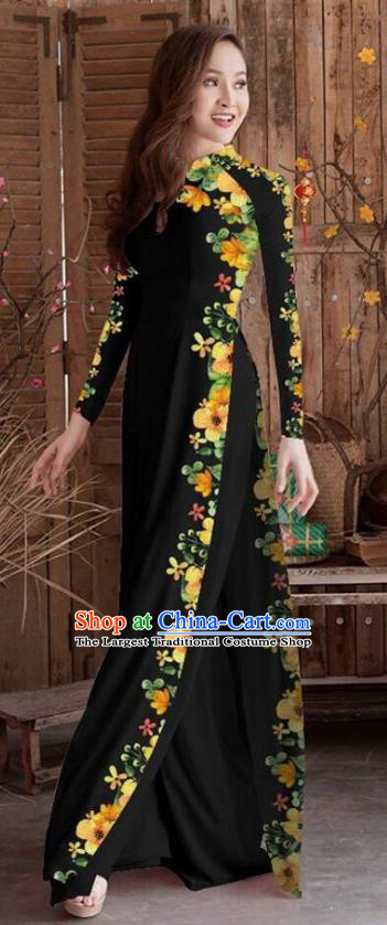 Asian Vietnam Traditional Printing Cheongsam Vietnamese Black Ao Dai Qipao Dress for Women