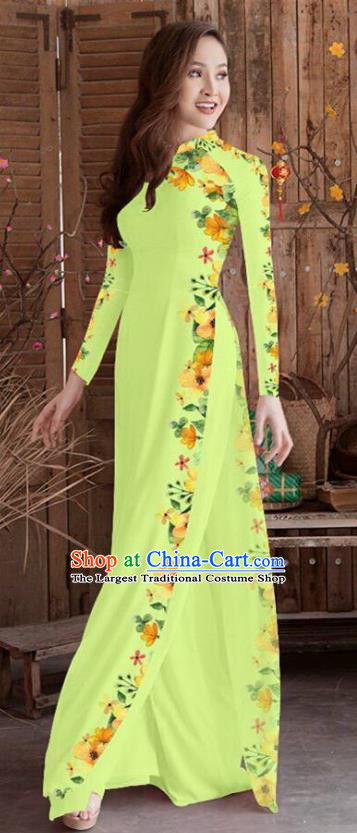 Asian Vietnam Traditional Printing Cheongsam Vietnamese Green Ao Dai Qipao Dress for Women