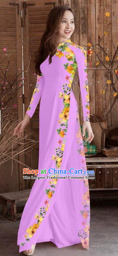 Asian Vietnam Traditional Printing Cheongsam Vietnamese Lilac Ao Dai Qipao Dress for Women