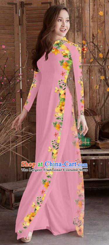 Asian Vietnam Traditional Printing Cheongsam Vietnamese Pink Ao Dai Qipao Dress for Women