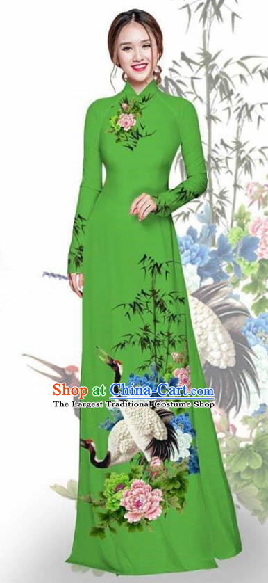 Asian Vietnam Traditional Printing Crane Peony Green Cheongsam Vietnamese Ao Dai Qipao Dress for Women