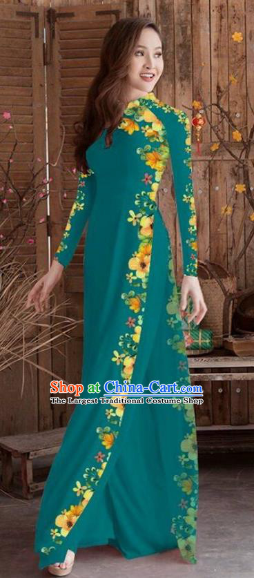 Asian Vietnam Traditional Printing Cheongsam Vietnamese Peacock Green Ao Dai Qipao Dress for Women