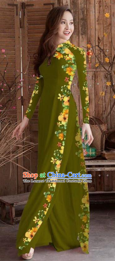 Asian Vietnam Traditional Printing Cheongsam Vietnamese Olive Green Ao Dai Qipao Dress for Women