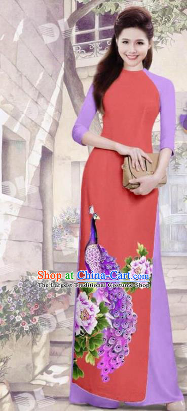Asian Vietnam Traditional Red Cheongsam Vietnamese Printing Peacock Ao Dai Qipao Dress for Women