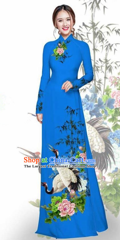Asian Vietnam Traditional Printing Crane Peony Deep Blue Cheongsam Vietnamese Ao Dai Qipao Dress for Women