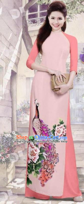 Asian Vietnam Traditional Pink Cheongsam Vietnamese Printing Peacock Ao Dai Qipao Dress for Women