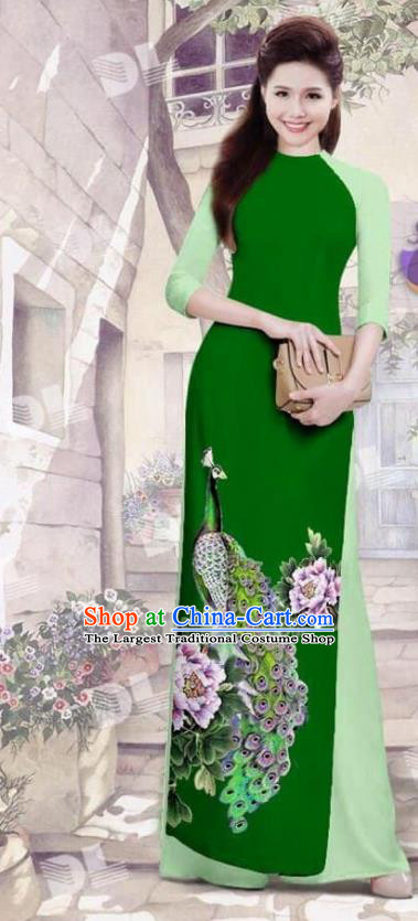Asian Vietnam Traditional Deep Green Cheongsam Vietnamese Printing Peacock Ao Dai Qipao Dress for Women